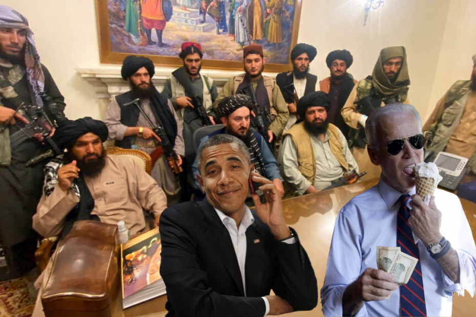 Biden and Obama at Table with Taliban
